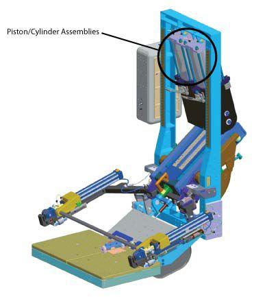 Model ARED przedstawiający umiejscowienie pary cylindrów/tłoków wytwarzających opór potrzebny do ćwiczeń. (Credits: NASA)
