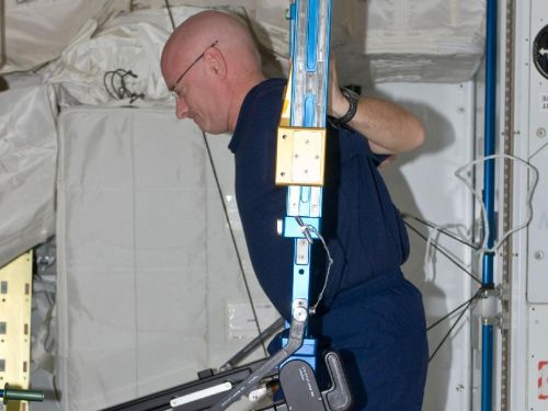 Scott Kelly w trakcie ćwiczeń siłowych na ARED. (Credits: NASA)