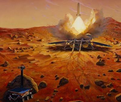 Artystyczna wizja misji dostarczającej próbki z Marsa na Ziemię / Credits: NASA
