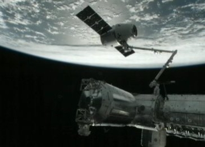 Dragon-1 przechwycony przez wysięgnik CanadArm2 SSRMS / Credits: NASA TV