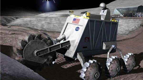 Koncepcja księżycowej koparki, wydobywającej hel-3 z regolitu / Credits - NASA