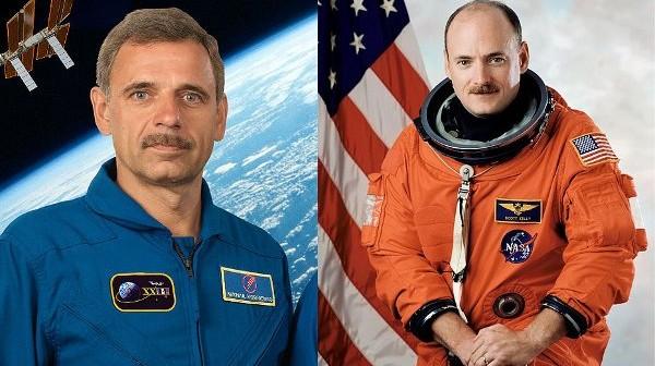 Michaił Kornijenko i Scott Kelly / Credits - Roskosmos i NASA