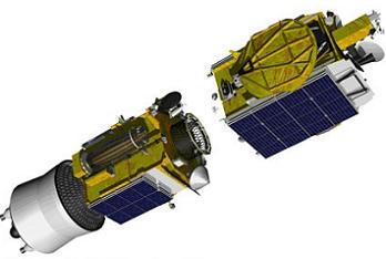 Satelity Łucz-5B oraz Jamał-300K / Credits: Zakłady Reszetniewa