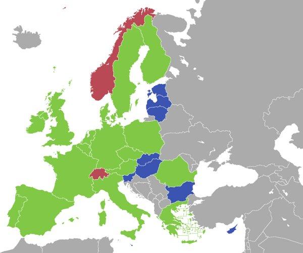 Państwa ESA i UE (zielony kolor), tylko ESA (brązowy) i UE (tylko niebieski) / Credits - wikimedia commons