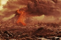Artystyczna wizja wulkanu na Wenus / Credits - ESA, AOES