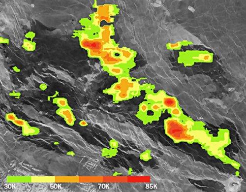 Cieplejsza od otoczenia stygnąca lawa na Wenus / Credits - Bondarenko et al.
