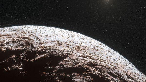 Artystyczna wizja powierzchni odległej od Słońca planety karłowatej Makemake / Credits: ESO/L. Calçada/Nick Risinger (skysurvey.org)