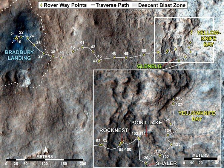 Trasa przebywa przez łazik MSL od lądowania do Sol 130 (18.12.2012) / Credits - NASA/JPL-Caltech/Univ. of Arizona