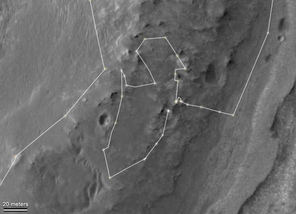 Mapa przedstawiająca jazdę łazika Opportunity wokół wzgórza Matijevic / Credits: NASA/JPL-Caltech/University of Arizona