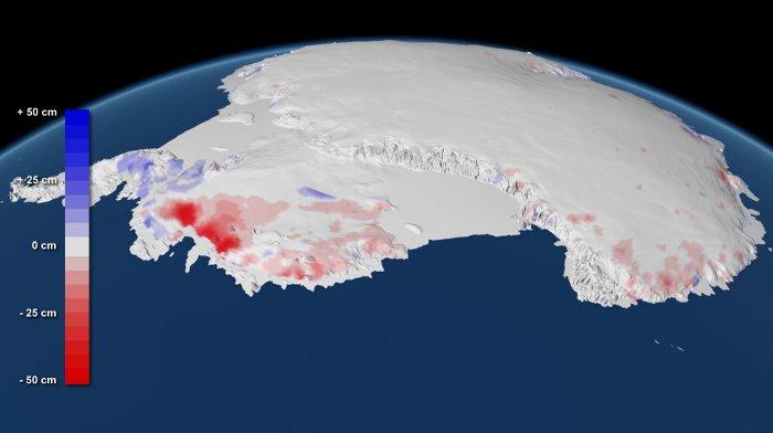 Zmiany w grubości pokrywy lodowej - Antarktyda / Credits - Planetary Visions, UCL (Antarctica)