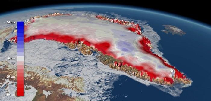 Zmiany w grubości pokrywy lodowej na Grenlandii / Credits - Planetary Visions, DTU (Greenland)