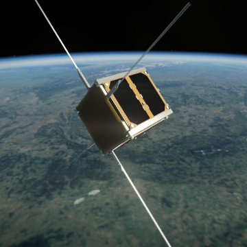 Grafika przedstawiająca satelitę PW-Sat na orbicie / Credits - PW, zespół PW-Sat