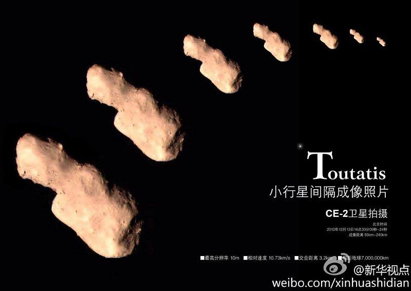 4179 Toutatis okiem Change'2 / Credits - CNSA, Xinhuashidian