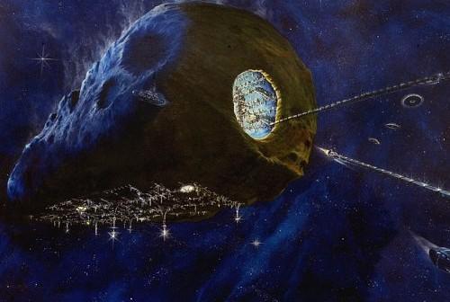pozyskiwanie surowców z planetoidy / Credits - asterank