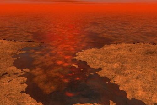 Ilustracja stanowi artystyczną koncepcję morza na Tytanie skutego lodowym polem. (Credit: NASA/JPL-Caltech/USGS)