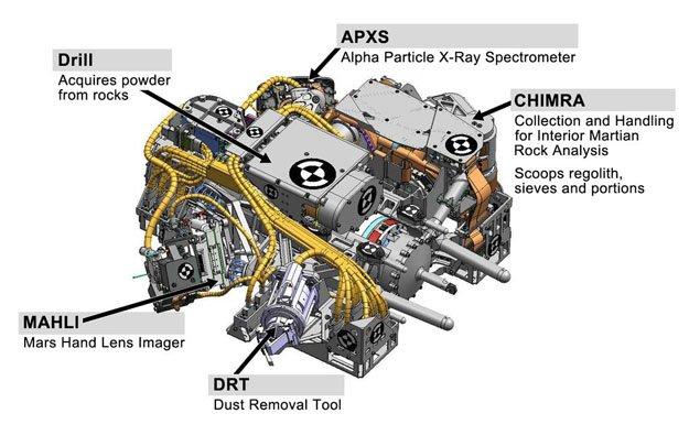 Instrumenty na ramieniu łazika MSL, w tym system do wierceń skał / Credits - NASA, JPL