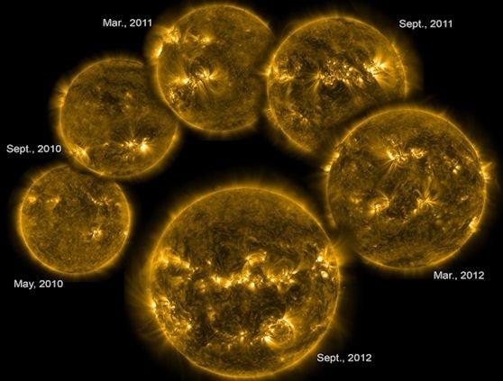 Aktywność słoneczna - zmiany w poziomie promieniowania EUV pomiędzy 2010 a 2012 rokiem / Credits - NASA, SDO