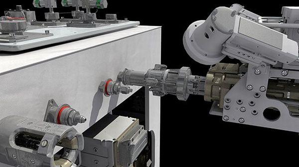 Grafika przedstawiająca poglądowy przebieg eksperymentu - odkręcania nakrętki za pomocą specjalnego narzędzia obsługiwanego przez robota Dextre (moduł RRM po lewej) / Credits: NASA