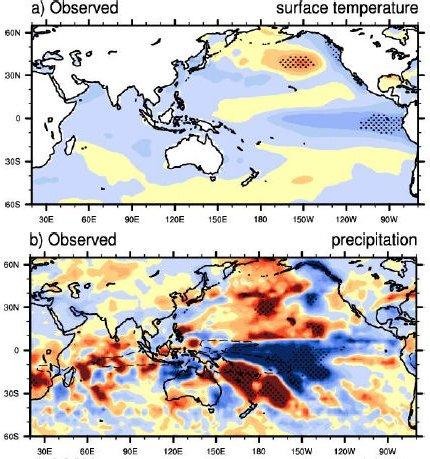 Zmiany temperatury i opadów dla okresów maksimów słonecznego w porównaniu z innymi okresami czasu / Credits - : G.A. Meehl, J.M. Arblaster, K. Matthes, F. Sassi, and H. van Loon, NASA
