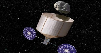 Sonda przechwytująca asteroidę - wizualizacja / Credits: Rick Sternbach - KISS