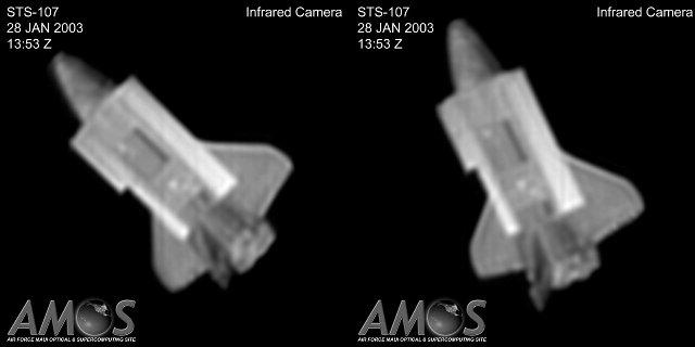 Columbia sfotografowana przez AMOS - 28.01.2003 / Credits - AMOS, USAF
