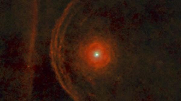 Zdjęcie otoczenia czerwonego nadolbrzyma - Betelgezy wykonane przez obserwatorium Herschel / Credits: ESA/Herschel/PACS/L.