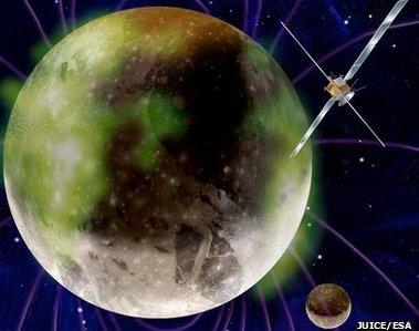 Artystyczna wizja sondy JUICE nieopodal Ganimedesa / Credits - ESA