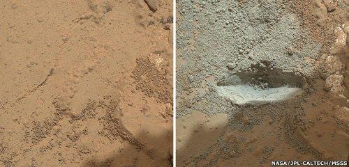 Przed i po wierceniu skały John Klein / Credits - NASA, JPL
