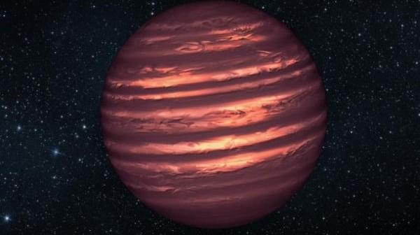 Grafika przedstawiająca poglądowy wygląd brązowego karła 2MASSJ22282889-431026, który został zobrazowany przez teleskopy Hubble i Spitzer. Rezultaty obserwacji są zaskakujące: na tym brązowym karle występują rozbudowane układy chmur, które przemieszczane są przez wiatry / Credits: NASA/JPL-Caltech