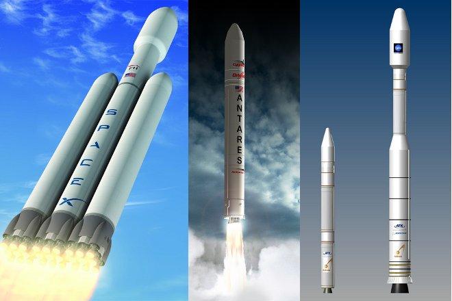 Wizualizacje rakiet Falcon Heavy, Antares i dwóch wersji Athena III / Credits - SpaceX, Orbital, ATK