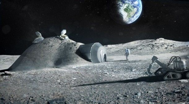 Wizja artystyczna bazy księżycowej stworzonej dzięki technologii drukowania w 3D / Credits: ESA