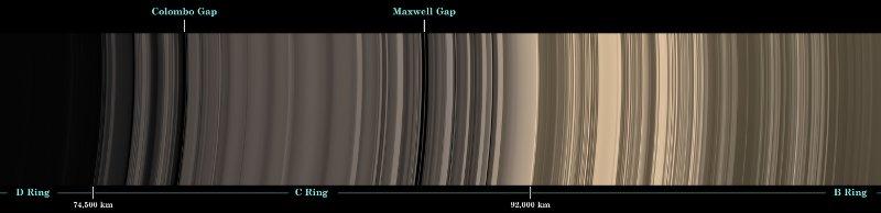 Wewnątrzna część pierścieni Saturna - widoczne postępujące