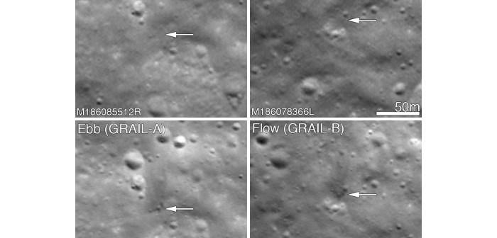 Kratery wybite przez sondy GRAIL / Credits - NASA/GSFC/Arizona State University