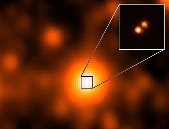 Obserwacje WISE (duże zdjęcie) i teleskopu Gemini (ramka) / Credits -  NASA/JPL/Gemini Observatory/AURA/NSF