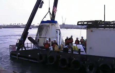 Kapsuła Dragon powraca na ląd / Credits - NASA TV