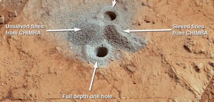 Obszar ostatnich wierceń łazika MSL Curiosity / Credits: NASA/JPL-Caltech/MSSS