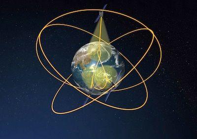 Grafika przedstawiająca schematyczne rozłożenie satelitów nawigacyjnych konstelacji QZSS wokół Ziemi / Credits: JAXA