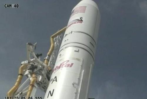 Ujęcie na rakietę Antares / Credits - NASA TV