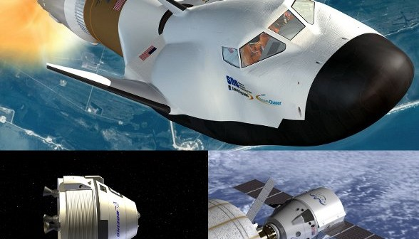 Pojazdy Dragon, CST-100 i Dream Chaser / Credits - SpaceX, Boeing i Sierra Nevada