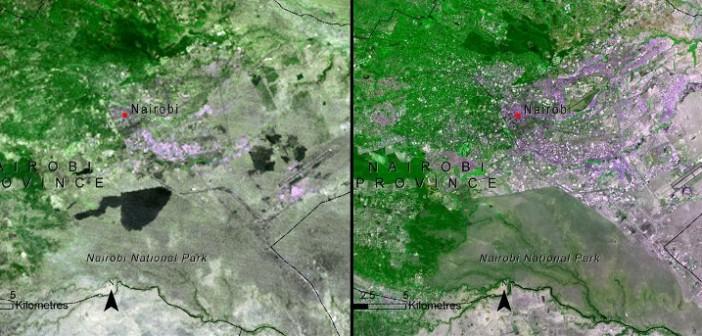 Nairobi w 1976 i w 2005 roku / Credits - NASA
