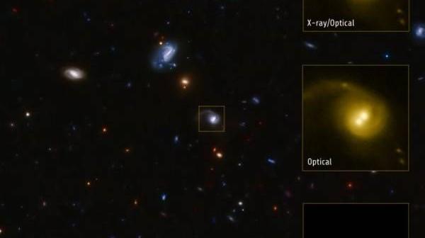 Układ CID-42 zlokalizowany jest 4 miliardy lat świetlnych od Ziemi / Credits: X-ray: NASA/CXC/SAO/F.Civano et al; Optical: NASA/STScI; Optical (wide field): CFHT, NASA/STScI