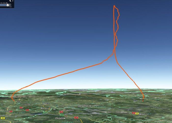 Wznoszenie i opadanie lotu balonu SEBA-2 / Credits - google earth