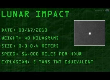 Uderzenie meteorytu w Księżyc - 17 marca 2013 / Credits - NASA