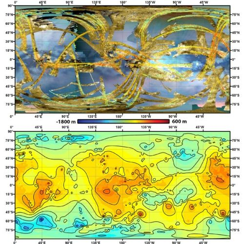 Przy użyciu metod numerycznych, (funkcji sklejana, splajnu),  naukowcy zdołali utworzyć topograficzną mapę Tytana z niepełnych, radarowych danych sondy Cassini (złote pasy na obrazku wyżej). Credit:  NASA/JPL-Caltech/ASI/JHUAPL/Cornell/Weizmann