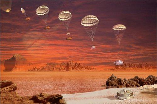 Artystyczna wizja lądowania Huygensa na Tytanie. Credit: NASA/JPL/ESA