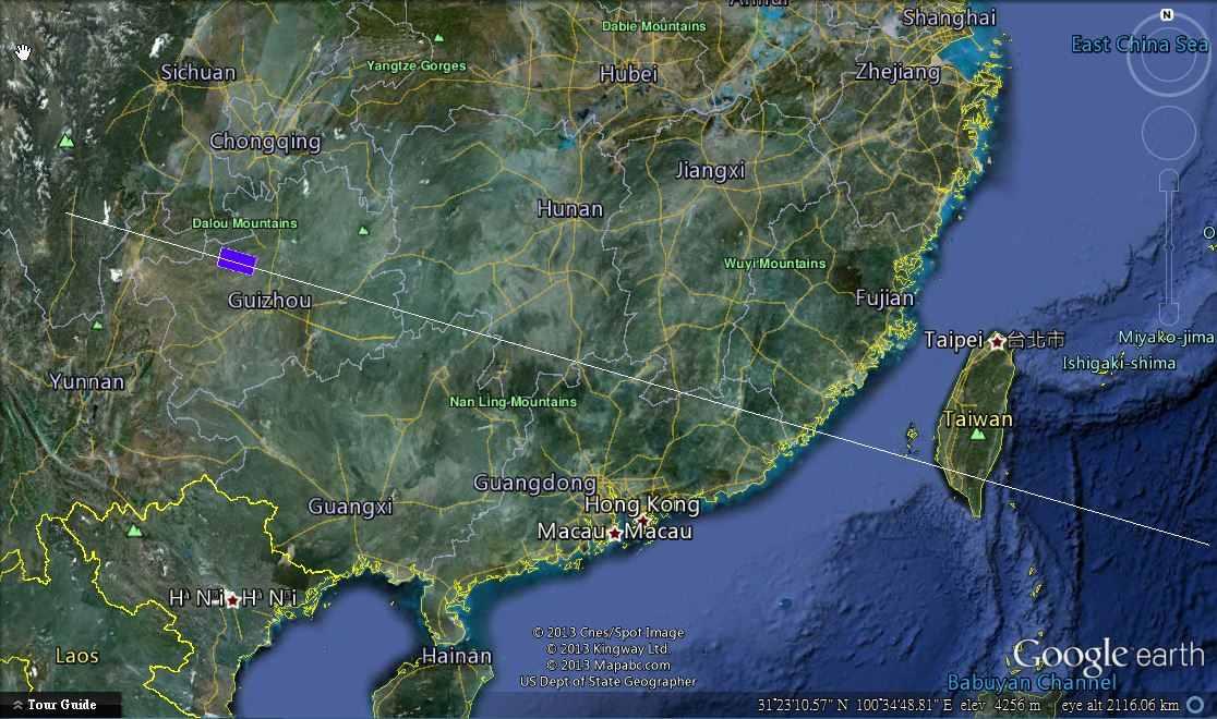 Położenie kosmodromu Xichang i strefy zamkniętej przestrzeni powietrznej / Credits: Galactic Penguin SST