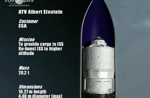 Grafika prezentująca ATV-4 wewnątrz rakiety Ariane 5 / Credits - Arianespace