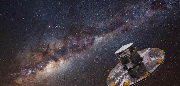 Gaia obserwująca Drogę Mleczną - wizualizacja / Credits: ESA, ATG medialab, ESO (S. Brunier)
