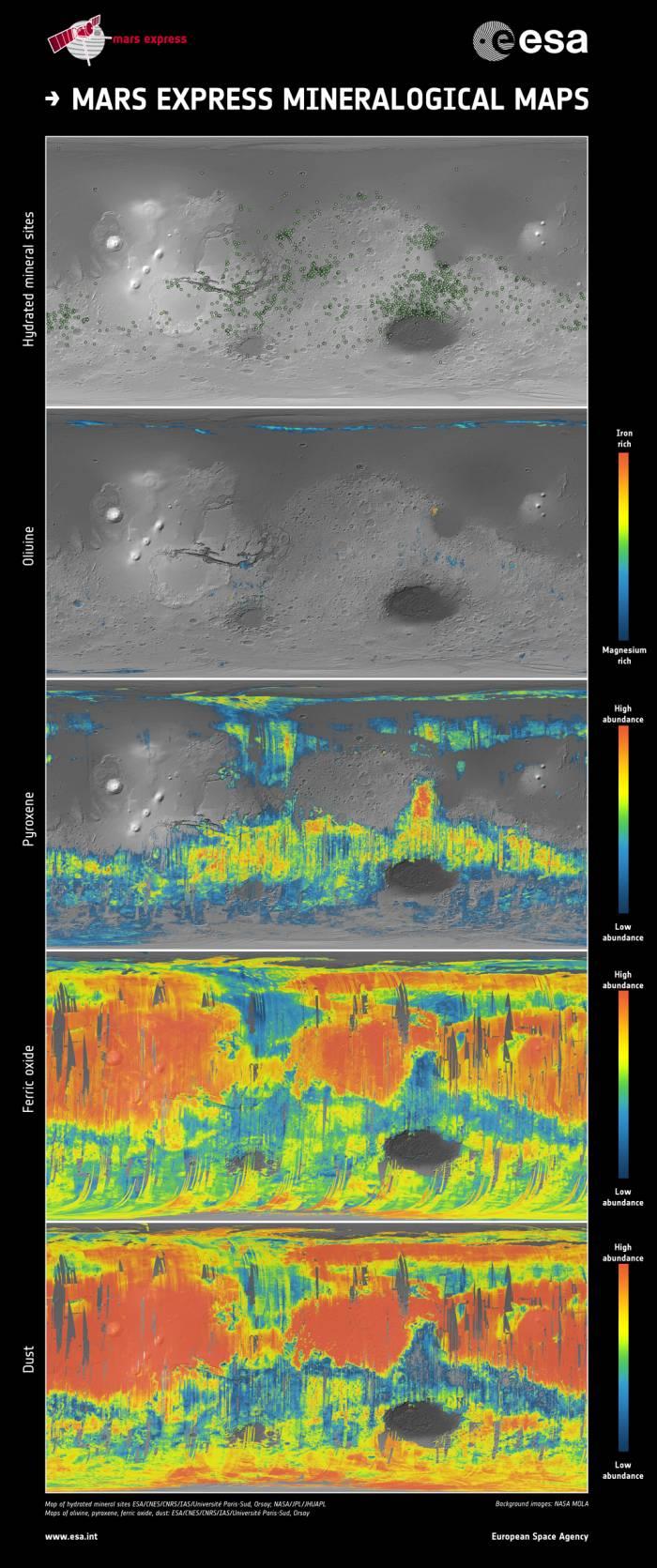 Minearologia Marsa przedstawiona na mapach / Credits: ESA/CNES/CNRS/IAS/Université Paris-Sud, Orsay; NASA/JPL/JHUAPL; NASA MOLA