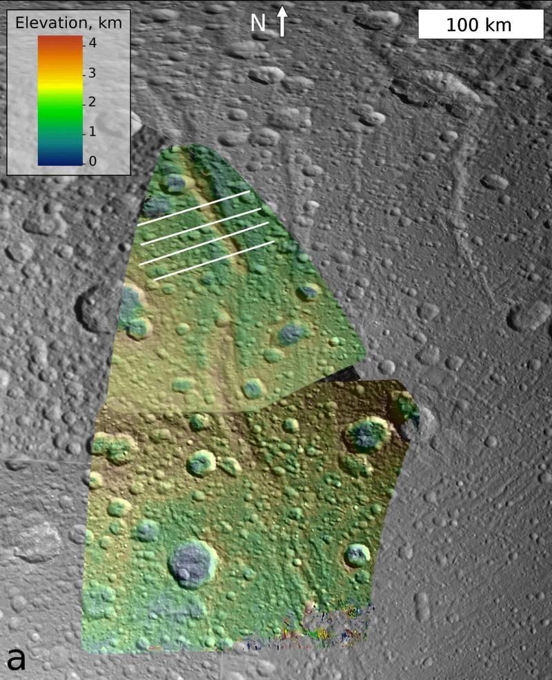 Mapa wysokościowa rejonu grzbietu Janiculum Dorsa / Credits: NASA/JPL/Space Science Institute